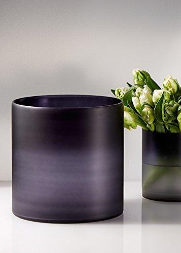 8in Black & Purple Frost Cylinder Vase Frost Glass Cylinder