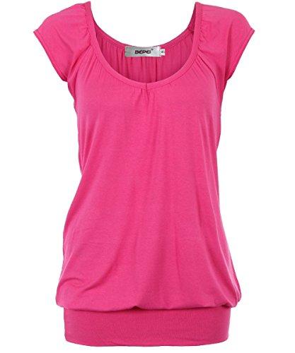 Bepei® Women Hip Length V Neck Top Solid Short Sleeve T Shirt Tunic Blouse Cerise 2XL (Plus Size Indian Fancy Dress)