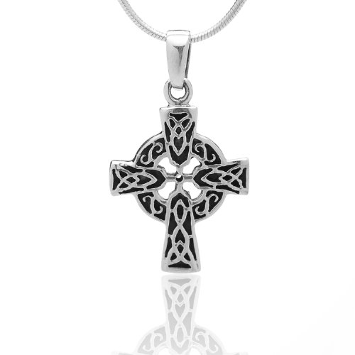 Cross Free 18' Chain - 925 Oxidized Sterling Silver Celtic Knot Cross Pendant Necklace, 18 inches - Nickel Free