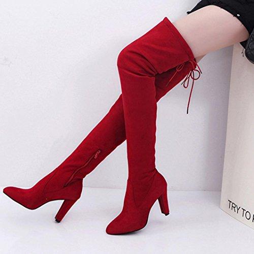 High Heels Stiefel für Frauen, cinnamou Stretch Faux schlanke hohe Stiefel - Über den Knien Stiefel (34, Schwarz) Rot