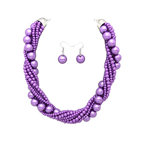 Fashion 21 Women's Twisted Multi-Strand Simulated Pearl, Acrylic Ball Statement Necklace and Earrings Set (Lavender)