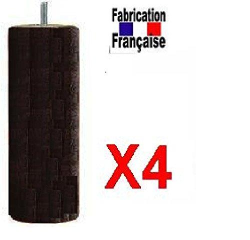 Wood select Lotto 4piedi letto 35cm diam 70mm nero varie tipo di fissaggio (per doghe standard Tapissier quadro legno: attacco M8Lunghezza 3cm) Wood Selection