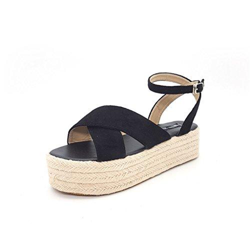 Lieve Tijd Zomer Stro Platform Sandalen Zwart