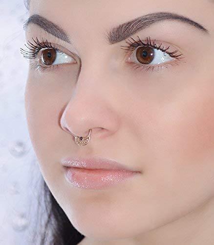 Piercing septum corde opale or rose
