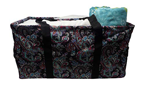 (Extra Large Utility Tote Bag - Oversized Collapsible Pool Beach Bag With Two Exterior Pockets - Paisley Multi)