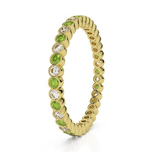 Or jaune 18carats 0,20CT G-H/VS sertie de diamants ronds Cut Péridot et éternité Bague Agdr-1098
