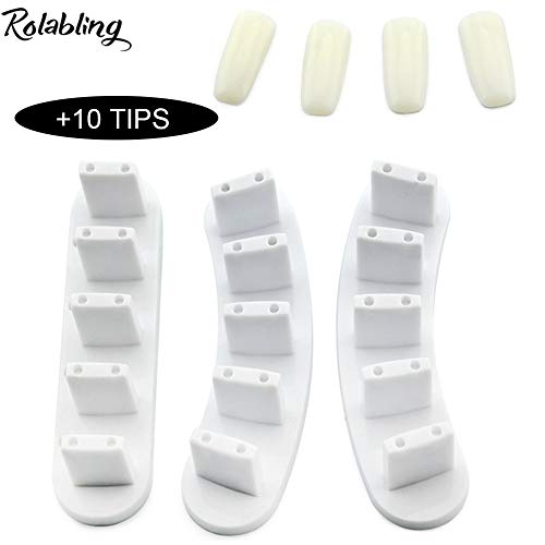 Rolabling 3pcs False Nail Art Tips Practice Display Stand Tool for Gel Nail Polish DIY Nail Training Tools (White)