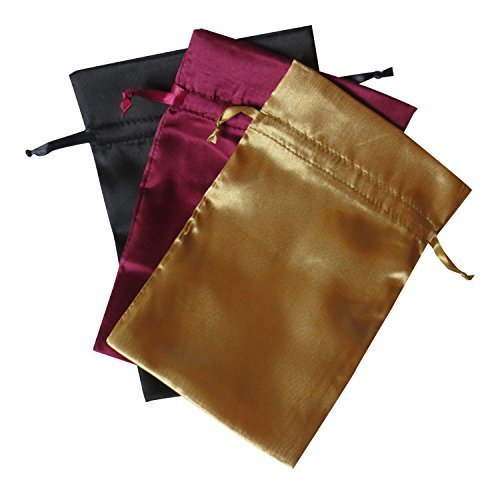 """Tarot Bags Fall Colors Satin Bundle of 3: Wine Black and Gold (6"""" X 9"""" Each)"""