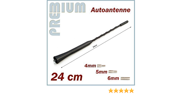 Antena de Techo de Barra Universal Antena Corta 24 cm con Rosca M4 M5 M6 para RENAULT --- Clio - Espace - Scenic - Kangoo - Koleos - Laguna - Megane - ...
