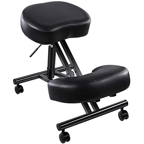 "SUPERJARE Adjustable Kneeling Chair, Ergonomic Working Stool W/ 4"" Cushion Office Home - Ideal for Neck, Spine, Back Problems - Black"