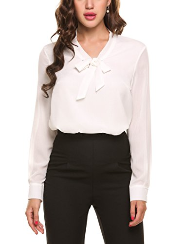 ACEVOG Office Blouse Womens White Formal Shirt,White,Small ()