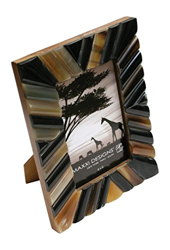 Maxxi Designs Safari Patterned Natural Horn Photo Frame with Easel Back, 5
