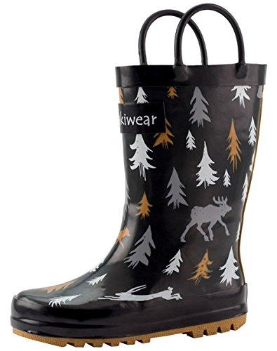 Oakiwear Kids Rubber Rain Boots With Easy-on Handles, Wildlife Tracker, 4Y US Big Kid - Image 2