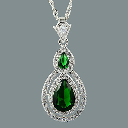 Phetmanee Shop Pear Cut 18K White Gold Plated Cubic Zirconia Green Emerald Pendant Free Chain (White Cross Pear)