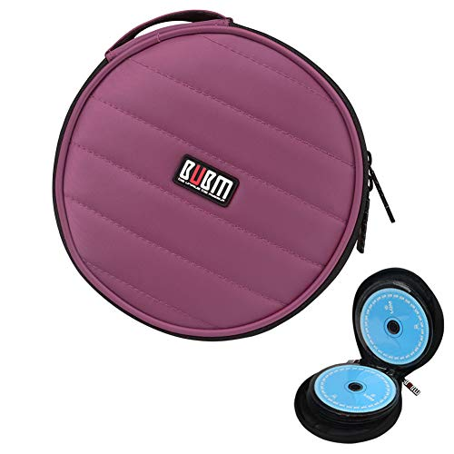 CD/DVD Portable Carry Wallet BUBM 32 CD Disc Capacity Waterproof Storage Case Compact and Easy to Store for Car Home and Travel Purple