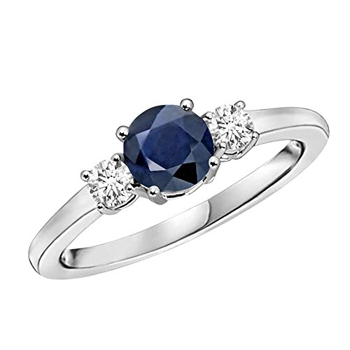 Voss + Agin 14K Gold Blue Sapphire & White Diamond 3 Stone Ladies Ring (1.25CTW) 6MM (6)
