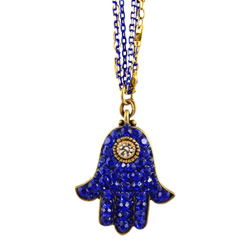 Michal Golan Crystal Hamsa Hand Necklace With Multicolor Chain, Blue/Clear 18+4