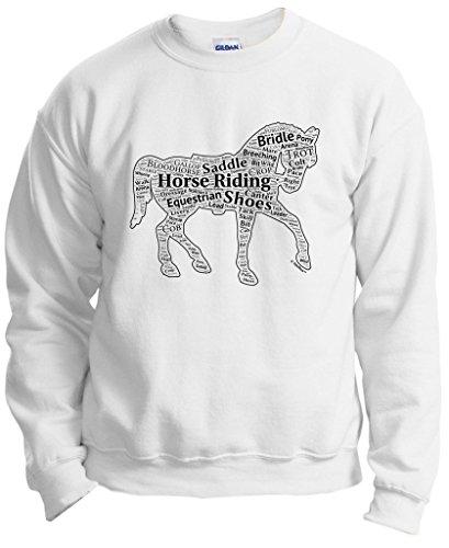 (ThisWear Plus Size Equestrian Horseback Word Collage Equestrian Horse Gift Crewneck Sweatshirt 3XL White)