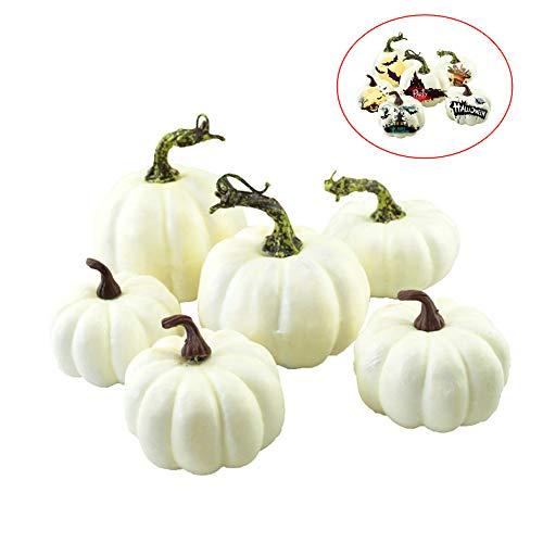sweetyhomes Simulation Halloween Doodle Decoration Pumpkin - Mini White DIY Creative Pumpkin Foam Pumpkin Fake Pumpkin 6PCS / Set
