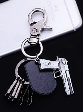 Llavero Retro pistola Desert Eagle piel mosquetón: Amazon.es ...