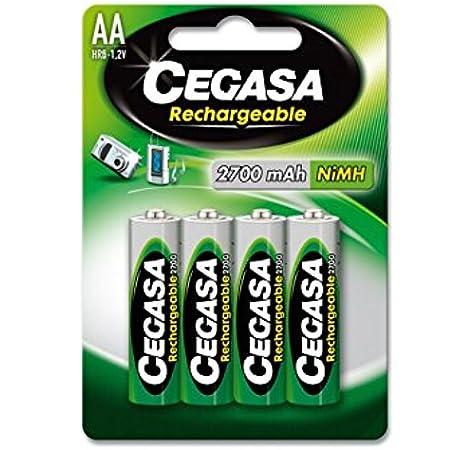 CEGASA Rechargeable - Pack 4 Pilas HR6 2700 mAh, Color Verde: Amazon.es: Electrónica