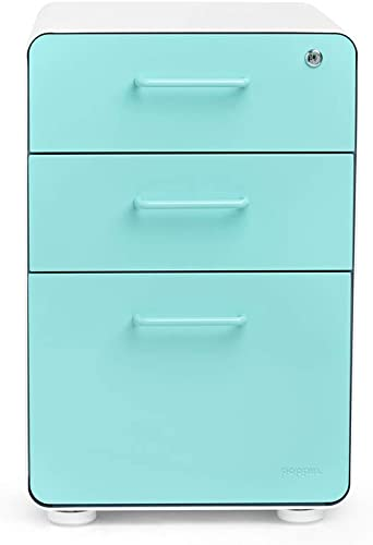 Poppin White Aqua Stow 3-Drawer File Cabinet, Available in 10 Colors, Legal Letter
