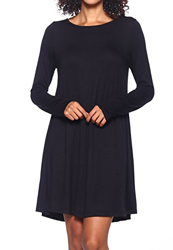 Stretchy Flowy Loose Fit Casual Work Cocktail Beach Lounge Evening Tunic Dresses Regular and Plus Size LS Black XL