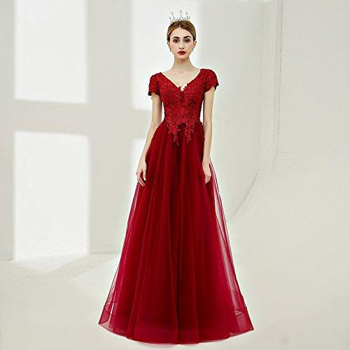 lunghezza pianale Rosso Prom e Una a da formale lacci di abito con sera collo kekafu prodotti linea con da borgogna di Tulle V SG ABzvwnCq