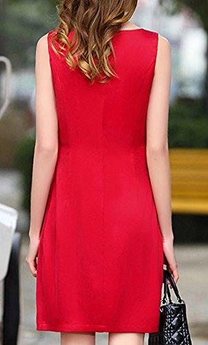 Kleid Cocktail Rot girl Kleider Seide Damen E Knee Long S9913 Abendkleid Übergröße Einfarbig WgUfxSzq
