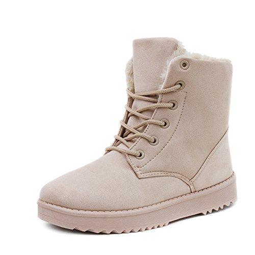 Damen Worker Boots Schnür Stiefel Stiefeletten in Lederoptik warm gefüttert Beige gefüttert
