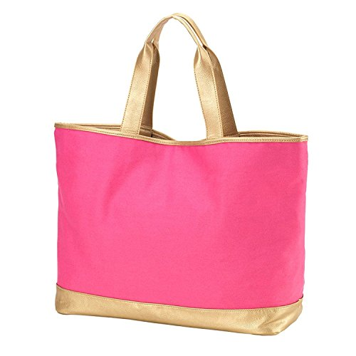 Special Edition Cabana Canvas Tote Bag With Gold Vegan Leather Trim Can be Personalized or Monogrammed (Monogrammed Hot Pink)