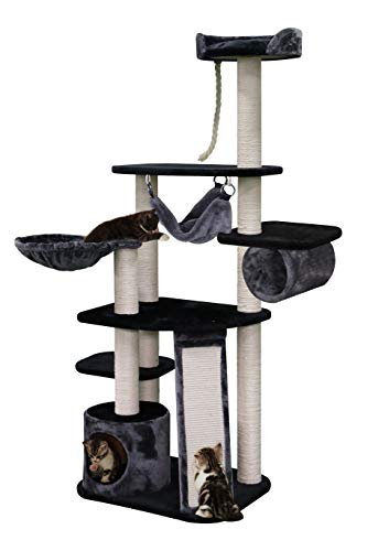 Sopapets Multi-Level Cat Tree with Sisal-Covered, Hammock, Condo and Activity Center Black