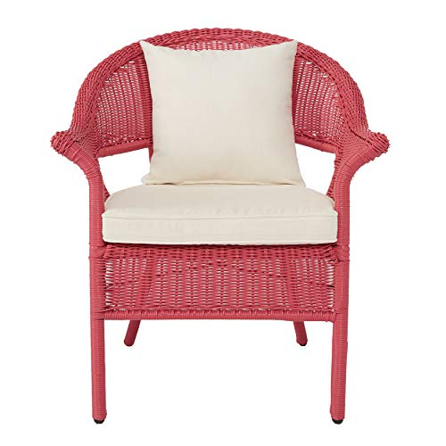 BrylaneHome Roma All-Weather Wicker Stacking Chair - Pink (Pink Patio Furniture)