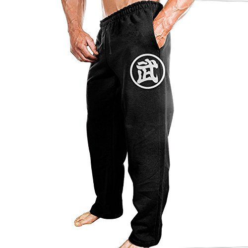 TONGY Men's Son Goku DBZ Japanese Comic Character LOGO Comfortable Hip-Hop Vintage Sweatpants Leisure Wear Size L Black (Dragon Ball Z Budokai Tenkaichi 2 All Characters)