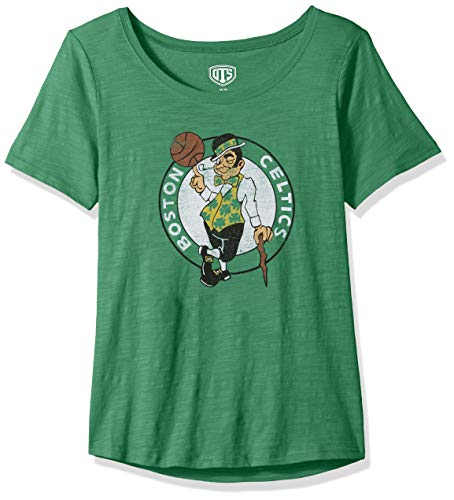 OTS NBA Boston Celtics Female Slub Scoop Tee Distressed, Kelly, Large