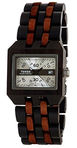 Tense Discovery Comox Rectangular Two-Tone Sandalwood Wood Watch B5100DS