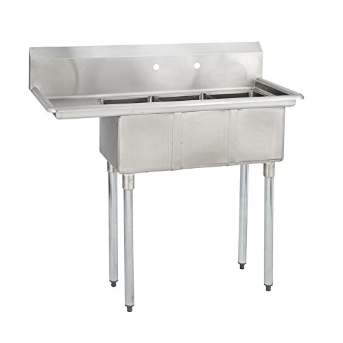 Fenix Sol 18G-3C10X14-L12 Three Compartment Stainless Steel Sink, Bowl: 10