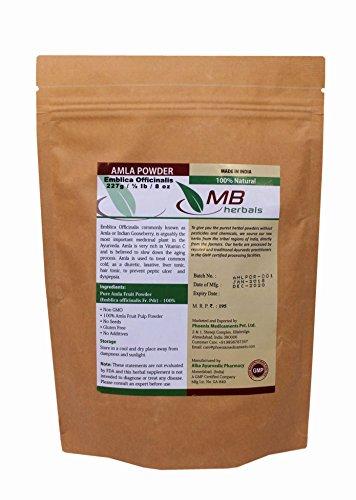 MB Herbals Pure Amla Powder 227g / 1/2 lb / 8 oz / 0.5 LB - 100% Pure - Organically Grown Emblica officinalis Fruit Pulp Powder - Non GMO - Gluten Free - Amalaki / Indian Gooseberry