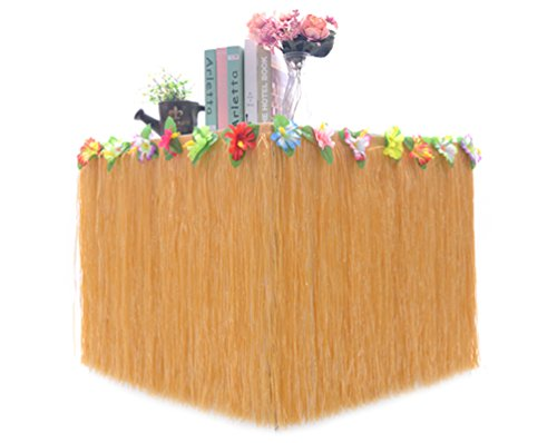 Hawaiian Colorful Artificial Big Flowers Hula Grass Table Skirt For Party Decoration  Straw  9Ft