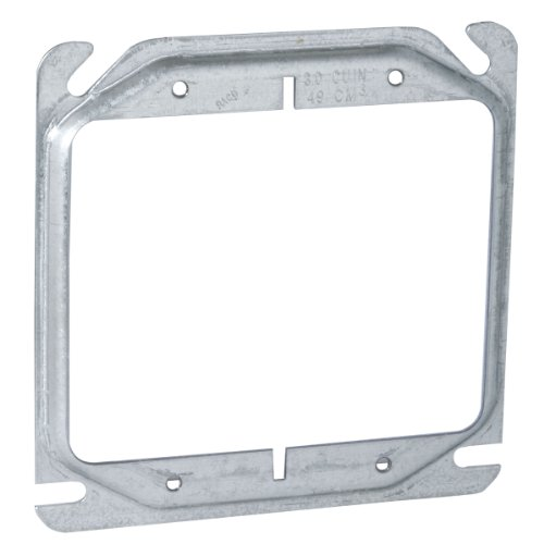 Hubbell-Raco 777 Raised 1/4-Inch, 4-Inch Square Mud-Ring for 2 Devices