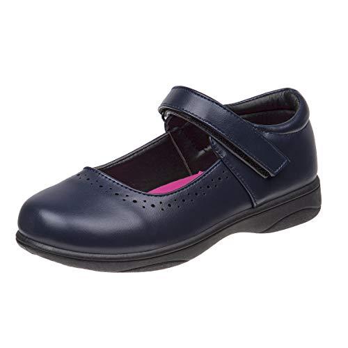 Petalia Girls' Cushioned School Uniform Shoes (Toddlers/Little Kid/Big Kids), Navy, Size 3 M US Big Kid