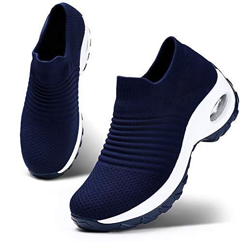 HKR Womens Comfortable Nursing Work Shoes Slip On Lightweight Platform Walking Sneakers Navy Blue 8(ZJW1839shenlan40)