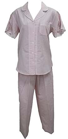 New Miss Elaine Coral White Two Piece Set Seersucker Pajamas XL