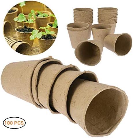 Faviye 100 Stück Biologisch Abbaubar Anzuchttöpfe, Rund Pflanztöpfe für Indoor & Outdoor