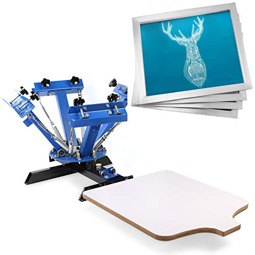VEVOR Screen Printing Press 4 Color 1 Station and 4 Pieces 20x20 Inch Aluminum Silk Screen Printing Frames with White 110 Count Mesh (1 Color 1 Station Screen Printing Press)