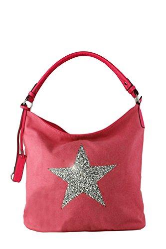 Sparking Rhinestone Embellished Star Canvas Shoulder Bag/Tote Shopper Medium Size 35x30x14 cm Fuchsia/ Bright Star
