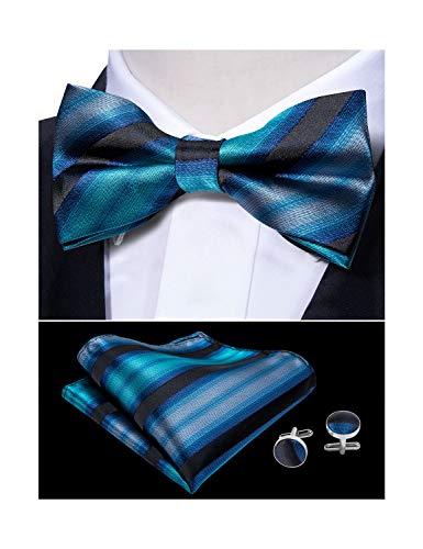 Tie Set Adjustable Bowtie Pocket Square Cufflinks Set Yohowa ()