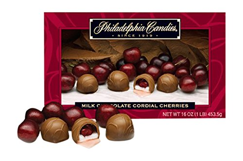 Philadelphia Candies Milk Chocolate Covered Cordial Cherries with Liquid Center Net Wt 1 lb