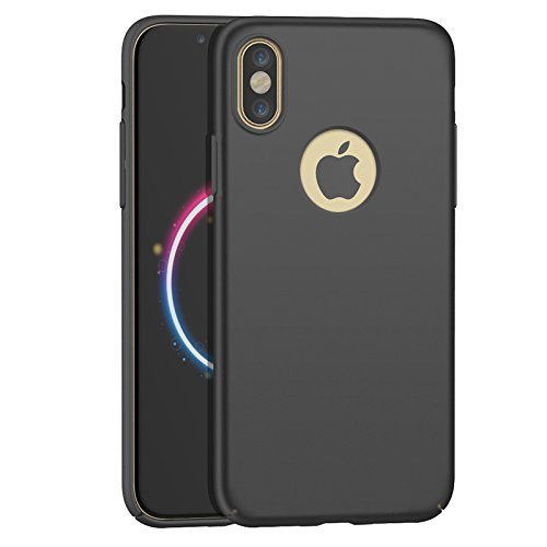 Price comparison product image iPhone X Case, Moonmini Ultra-thin Hard PC Full Body Protection Smooth Grip Shockproof Back Case Cover for iPhone X /iPhone 10 (Black)