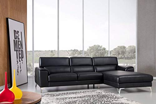 Greatime S2202 Top Grain Genuine Leather Sectional Sofa, Black, Right Facing Chaise